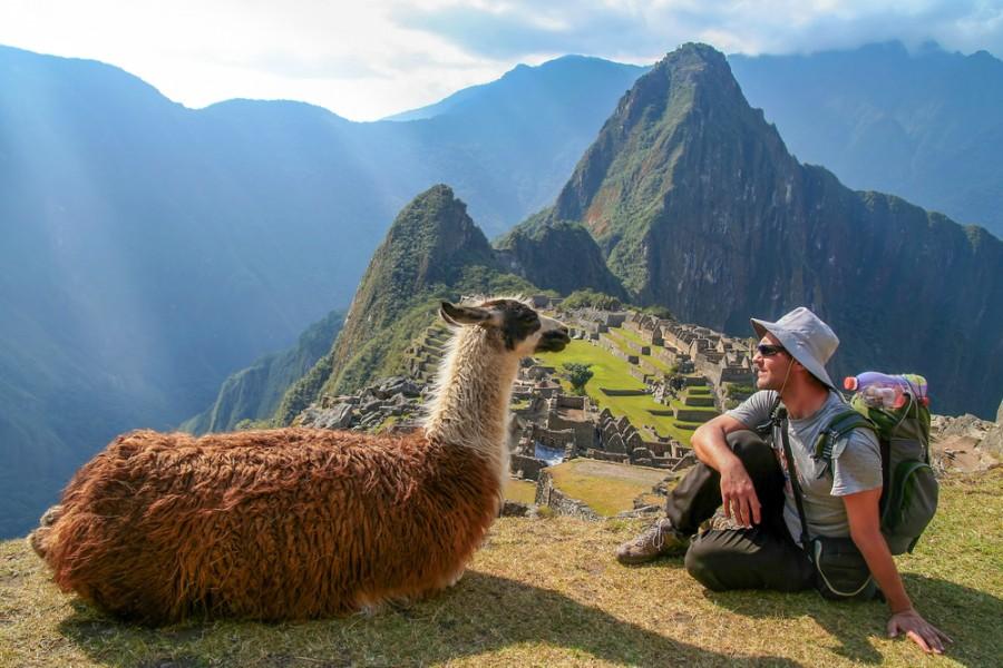 Turista a tradiční lama