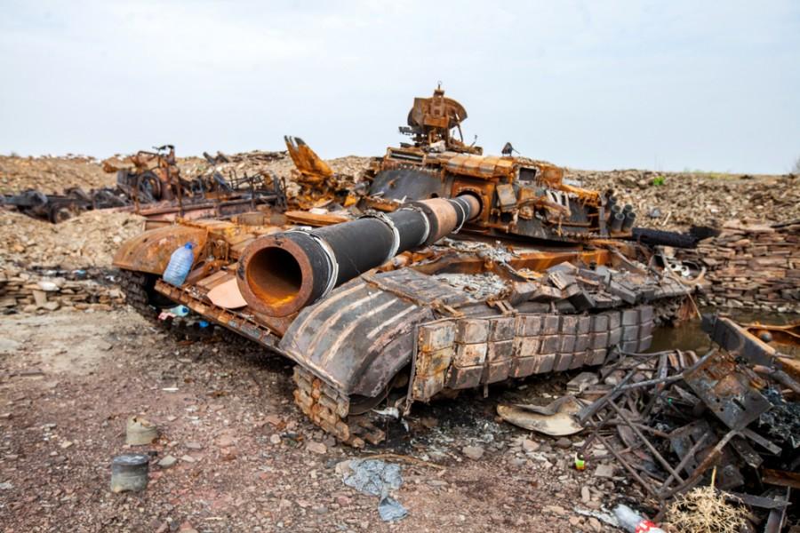 Zničený tank ukrajinské armády