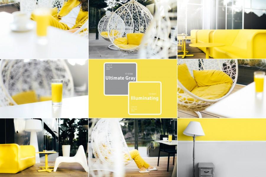 Žluté a šedé barevné kombinace